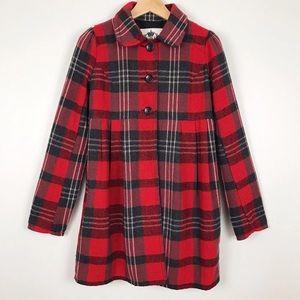 BB Dakota Red Plaid Swing Pea Coat Jacket Small